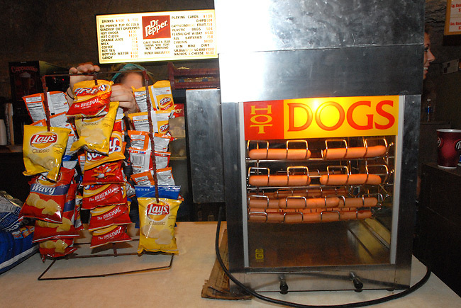 The concession stand inside the Volcano Room included hot dogs and chips.