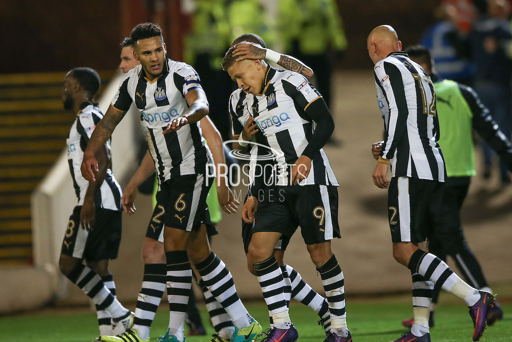 Newcastle United forward Dwight Gayle (9) scores a goal and celebrates to make the score 0-2 during the EFL Sky Bet Championship match between Barnsley and Newcastle United at Oakwell, Barnsley, England on 18 October 2016. Photo by Simon Davies.