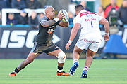 Newcastle Falcons Number 8 Nili Latu (8) receives the ball  during the Aviva Premiership match between Newcastle Falcons and Leicester Tigers at Kingston Park, Newcastle, United Kingdom on 29 October 2017. Photo by Simon Davies.