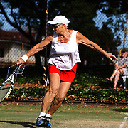Mary Boswell, USA,  in action in the 75 Womens Doubles Final which she won with her partner Lee Burling, USA, during the 2009 ITF Super-Seniors World Team and Individual Championships at Perth, Western Australia, between 2-15th November, 2009
