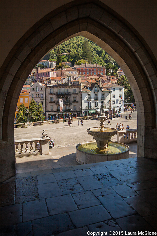 Lisbon Portugal, square and fountain