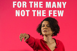 London, UK. 19 November, 2019. Chi Onwurah, Labour candidate for Newcastle Central, calls for questions from the media for Shadow Chancellor John McDonnell following his speech on the economy. His speech promised that a Labour government would rewrite the rules of the economy through reforms to business regulation that would lay some of the foundations of a stakeholder economy and help workers to take back control.