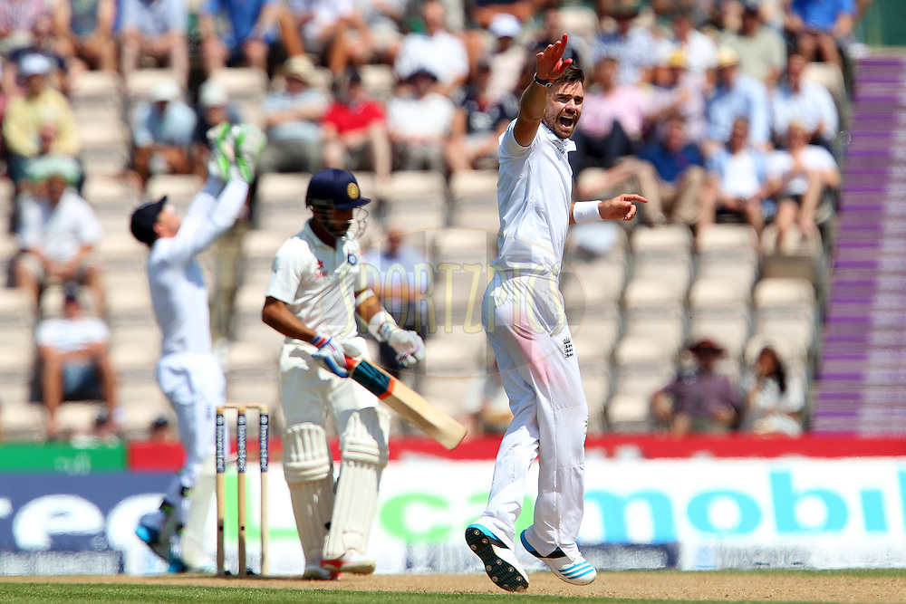 James Anderson of England appeals for the wicket of Ajinkya Rahane of India during day three of the third Investec Test Match between England and India held at The Ageas Bowl cricket ground in Southampton, England on the 29th July 2014<br /> <br /> Photo by Ron Gaunt / SPORTZPICS/ BCCI
