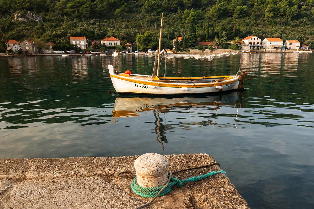 Fishing boat and dock, Sipanska Luka, Sipan Island, Dalmatian Coast, Croatia