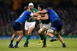 Sean O'Brien of Ireland takes on the France defence - Mandatory byline: Patrick Khachfe/JMP - 07966 386802 - 11/10/2015 - RUGBY UNION - Millennium Stadium - Cardiff, Wales - France v Ireland - Rugby World Cup 2015 Pool D.