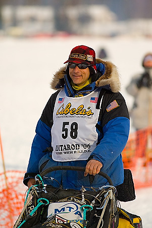 05 March 2006: Willow, Alaska - Four time champion Martin Buser heads out for Nome in hopes of being the second musher to have 5 wins in the Last Great Race during the restart of the 2006 Iditarod on Willow Lake in Willow, Alaska