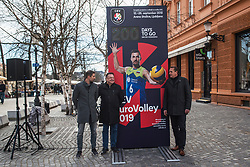 Metod Ropret from OZS and Zoran Jankovic Mayor at Count down ceremony to CEV Euro Volley 2019 in Ljubljana, Slovenia.