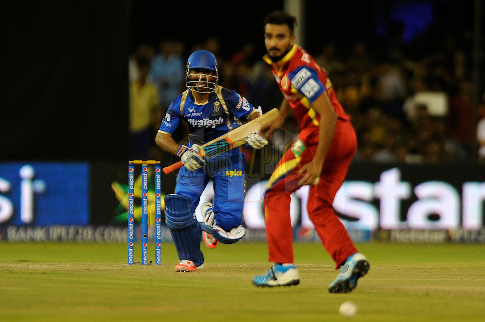 Ajinkya Rahane of Rajasthan Royals bats during match 22 of the Pepsi IPL 2015 (Indian Premier League) between The Rajasthan Royals and The Royal Challengers Bangalore held at the Sardar Patel Stadium in Ahmedabad , India on the 24th April 2015.<br /> <br /> Photo by:  Pal Pillai / SPORTZPICS / IPL