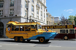 "© Licensed to London News Pictures. 30/09/2013. Following a fire on London Duck Tours vessel, the company has announced they will only be conducting tours on land until the cause is uncovered. ""Until the cause is established, the company will not be operating on the river and should technical or safety modifications be required to our fleet, these will be introduced prior to the service recommencing."" said MD John Bigos in a statement. Stock photo taken 8th June. Credit : Rob Powell/LNP"