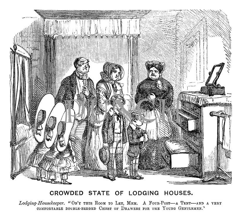"Crowded State of Lodging Houses. Lodging-housekeeper. ""On'y this room to let, mem. A four-post — a tent — and a very comfortable double-bedded chest of drawers for the young gentleman."""