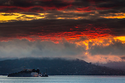 Sunset storm over Alcatraz.