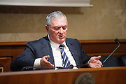 Rome oct 15,2015, two senators suspended for  offensive gestures to female colleagues attends to press conference to explain their facts version. In the picture Vincenzo D'Anna repeats his gesture