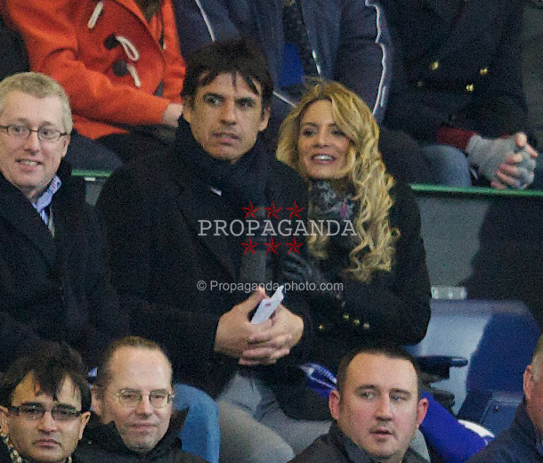 LONDON, ENGLAND - Sunday, December 30, 2012: Wales manager Chris Coleman and Sky Sports presenter Charlotte Jackson watch Liverpool take on Queens Park Rangers during the Premiership match at Loftus Road. (Pic by David Rawcliffe/Propaganda)