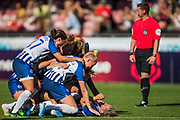 Aileen Whelan (Brighton) celebrates her goal with her team during the FA Women's Super League match between Brighton and Hove Albion Women and Chelsea at The People's Pension Stadium, Crawley, England on 15 September 2019.