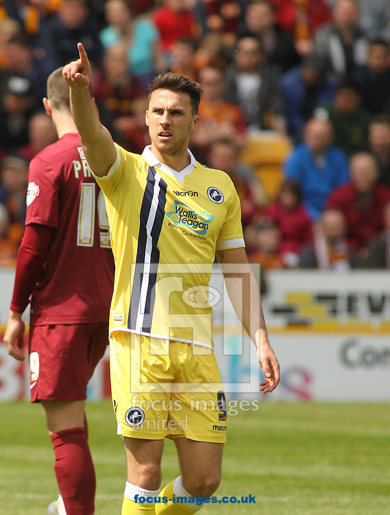 Lee Gregory of Millwall  celebrates scoring the goal  against Bradford City during the Sky Bet League 1 Playoff  Semi-final Leg One at the Coral Windows Stadium, Bradford<br /> Picture by Stephen Gaunt/Focus Images Ltd +447904 833202<br /> 15/05/2016