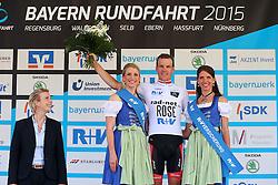 Radsport: 36. Bayern Rundfahrt 2015 / 3. Etappe, Selb - Ebern, 15.05.2015<br /> Cycling: 36th Tour of Bavaria 2015 / Stage 3, <br /> Selb - Ebern, 15.05.2015<br /> Siegerehrung - podium, # 62 Koch, Jonas (GER, RAD-NET ROSE TEAM), , Weisses Trikot, bester Nachwuchsfahrer / White Junior Jersey