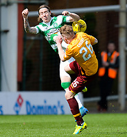 09/04/16 LADBROKES PREMIERSHIP<br /> MOTHERWELL v CELTIC<br /> FIR PARK - MOTHERWELL<br /> Celtic's Stefan Johansen (left) with Chris Cadden