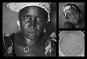 """Clockwise from left: Sahara Mahama, 40. Her daughter Mariama, 4. A bucket of millet at Sahara's home in Saran Maradi, Niger. (Photo: Rodrigo Ordonez/CARE)..Sahara Mahama has seven sons and a daughter. She lost four other children; one of them was only 14 days old. """"I lost the youngest one during the rains, in the lean season. I didn't have enough to eat."""" .Eating has become increasingly harder through the years, recalls Sahara. """"When I was a kid, we used to have three meals: in the morning, at noon, and in the evening.? However, one meal a day has now become the norm. """"It's never guaranteed, but we try."""" .Sahara participates in CARE's cash-for-work project. With the money she receives, she buys cereal and gives her children two meals per day."""