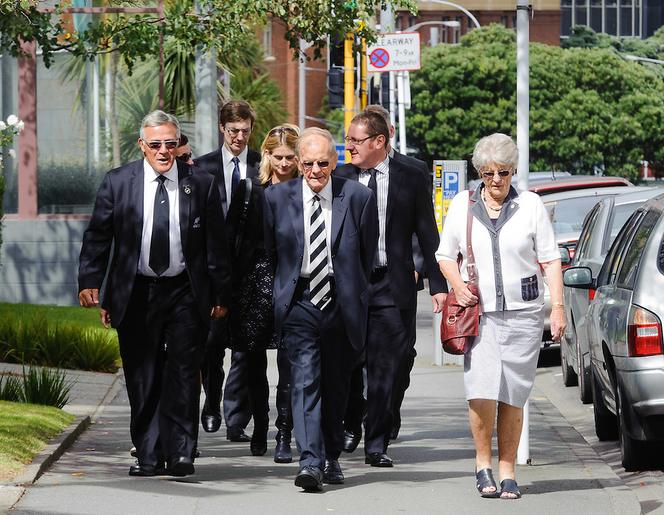 Former All Black Bryan Williams, left, with D J Graham arrives at Old St Pauls Church for the funeral of Michael James Bowie Hobbs (Jock), former All Black rugby captain, Wellington, New Zealand, Sunday, March 18, 2012. Credit: SNPA / Mark Coote