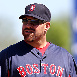 March 11, 2011; Fort Myers, FL, USA; Boston Red Sox third baseman Kevin Youkilis (20) during a spring training exhibition game against the Minnesota Twins at Hammond Stadium.   Mandatory Credit: Derick E. Hingle