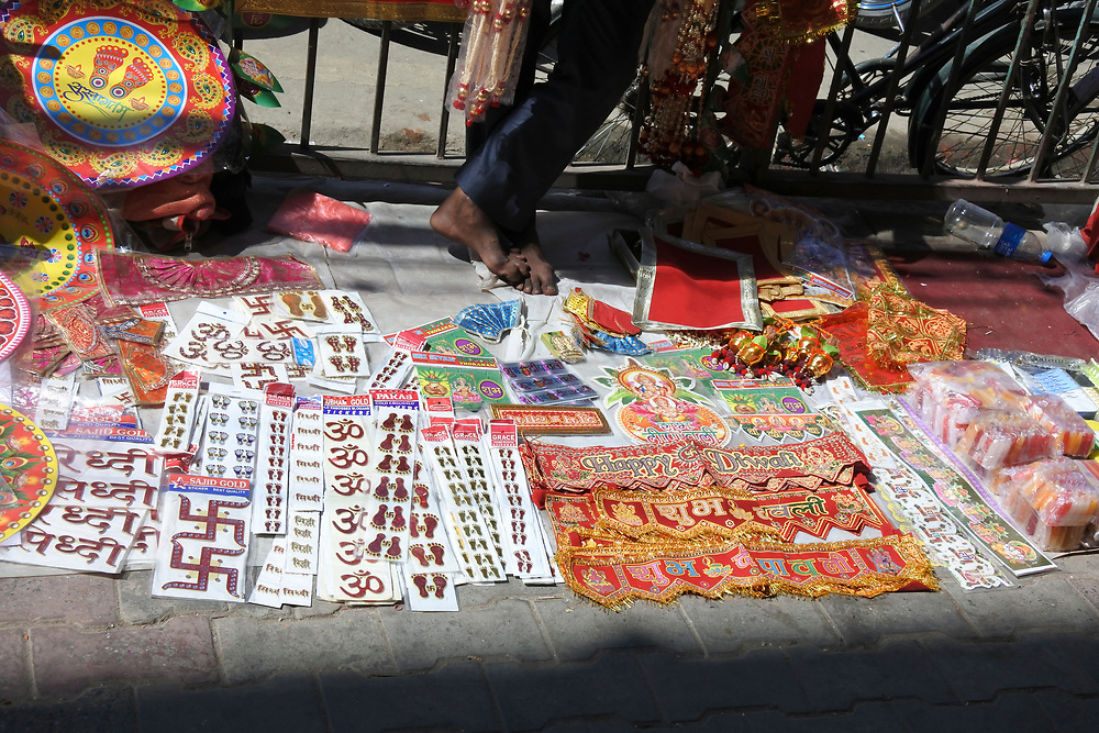 Assorted items for sale in Kathmandu on the Pavement