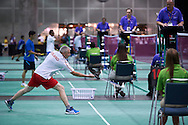 SO Poland athlete Michal Krcil in action while badminton competition during fifth day of the Special Olympics World Games Los Angeles 2015 on July 29, 2015 at Los Angeles Convention Centre in Los Angeles, USA.<br /> <br /> USA, Los Angeles, July 29, 2015<br /> <br /> Picture also available in RAW (NEF) or TIFF format on special request.<br /> <br /> For editorial use only. Any commercial or promotional use requires permission.<br /> <br /> Adam Nurkiewicz declares that he has no rights to the image of people at the photographs of his authorship.<br /> <br /> Mandatory credit:<br /> Photo by © Adam Nurkiewicz / Mediasport