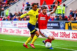 Anthony Forde of Rotherham United holds off Elliott Bennett of Blackburn Rovers - Mandatory by-line: Ryan Crockett/JMP - 02/03/2019 - FOOTBALL - Aesseal New York Stadium - Rotherham, England - Rotherham United v Blackburn - Sky Bet Championship