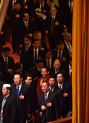 Members of the 12th National Committee of the Chinese People's Political Consultative Conference walk to attend the closing meeting of the annual session of the country's top political advisory body at the Great Hall of the People in Beijing, capital of China, March 14, 2016. EXPA Pictures © 2016, PhotoCredit: EXPA/ Photoshot/ Li Xin<br /> <br /> *****ATTENTION - for AUT, SLO, CRO, SRB, BIH, MAZ, SUI only*****