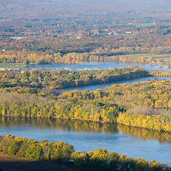 """The Oxbow"" and the Connecticut River as seen from the Skinner Mountain House in Hadley, Massachusetts.  Skinner State Park.  Mount Holyoke."