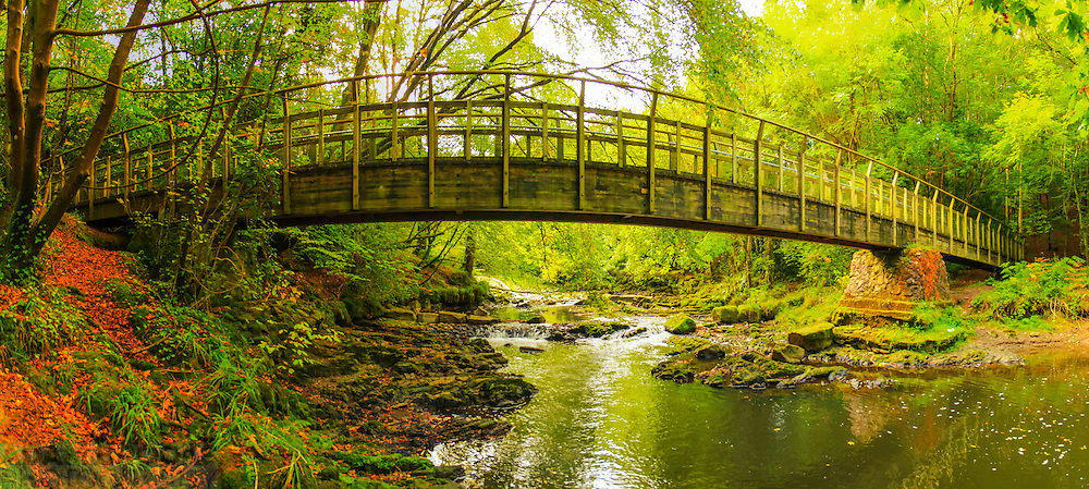 Panoramic view looking back along the River Cusher through a bridge with some lovely Autumnal colours. Image made of 5 photos at 18mm.