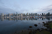 Downtown Vancouver's skyline at dusk, seen from Stanley Park.