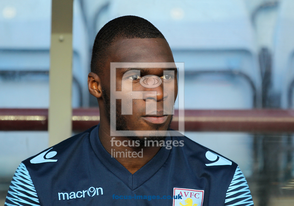 Christian Benteke of Aston Villa on the bench during the Barclays Premier League match at Villa Park, Birmingham<br /> Picture by Tom Smith/Focus Images Ltd 07545141164<br /> 04/10/2014