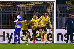 18.02.2016, Signal Iduna Stadion, Dortmund, GER, UEFA EL, Borussia Dortmund vs FC Porto, Sechzehntelfinale, Hinspiel, im Bild Torjubel von Lukasz Piszczek (#26, Borussia Dortmund) (Mitte) nach dem Tor zum 1:0 mit Sokratis Papastathopoulos (#25, Borussia Dortmund) (links) und Mats Hummels (#15, Borussia Dortmund) (rechts) // during the UEFA Europa League Round of 32, 1st Leg match between Borussia Dortmund and FC Porto at the Signal Iduna Stadion in Dortmund, Germany on 2016/02/18. EXPA Pictures © 2016, PhotoCredit: EXPA/ Eibner-Pressefoto/ Deutzmann<br /> <br /> *****ATTENTION - OUT of GER*****