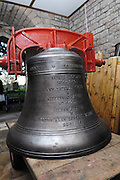 "UK, November 24 2014:  The new tenor bell that will be installed at All Saints East Budleigh church. The inscription on the other side of the bell bell states ""Anne and Brian Horrell married at All Saints East Budleigh 6th June 1959"" . Copyright 2014 Peter Horrell."