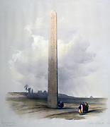 The Obelisk at Heliopolis', 1839. Watercolour. David Roberts (1796-1864) Scottish artist and orientalist.  Red granite obelisk of Senusert I, 20th century BC, oldest obelisk still in situ, 15km/9m north east of Cairo.
