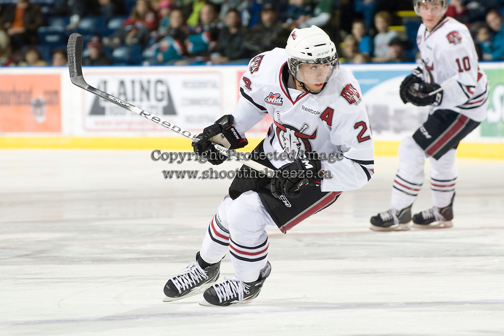 KELOWNA, CANADA, NOVEMBER 9: Mathew Dumba #24 of the Red Deer Rebels skates on the ice as the Red Deer Rebels visit the Kelowna Rockets  on November 9, 2011 at Prospera Place in Kelowna, British Columbia, Canada (Photo by Marissa Baecker/Shoot the Breeze) *** Local Caption ***