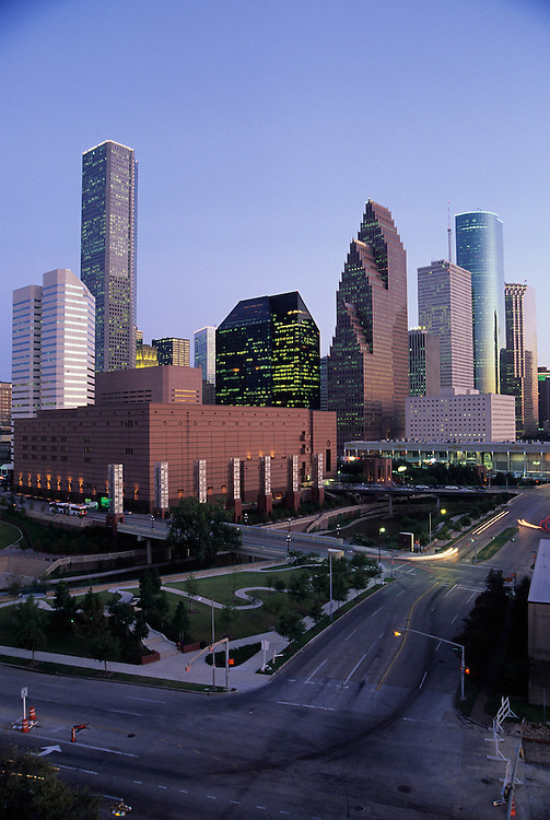 Aerial view of Wortham Center and Houston, Texas Skyline in early evening.
