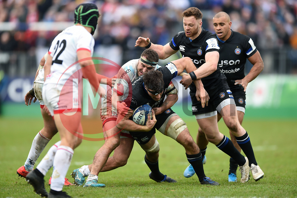 Josh Bayliss of Bath Rugby takes on the Ulster defence - Mandatory byline: Patrick Khachfe/JMP - 07966 386802 - 16/11/2019 - RUGBY UNION - The Recreation Ground - Bath, England - Bath Rugby v Ulster Rugby - Heineken Champions Cup