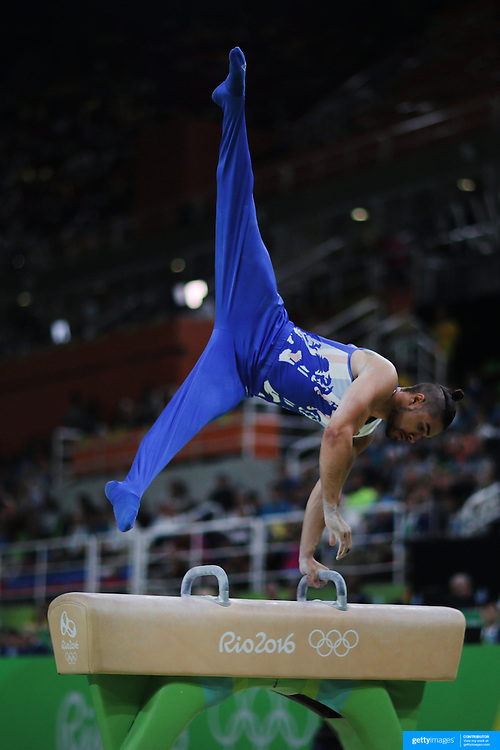 Gymnastics - Olympics: Day 9 Louis Smith of Great Britain,  performs his routine in the Men's Pommel Horse Final to win the silver medal at the Rio Olympic Arena on August 14, 2016 in Rio de Janeiro, Brazil. (Photo by Tim Clayton/Corbis via Getty Images)