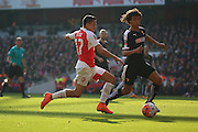 Arsenal forward, Alexis Sanchez (17) trying to drive into box during the The FA Cup Quarter Final match between Arsenal and Watford at the Emirates Stadium, London, England on 13 March 2016. Photo by Matthew Redman.