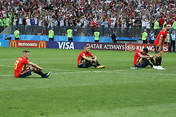 July 1, 2018 - Moscow, Russia - July 01, 2018, Russia, Moscow, FIFA World Cup 2018, the playoff round. Football match Spain - Russia at the stadium Luzhniki. Player of the national team defeat; sadness; Sergio Ramos; (Credit Image: © Russian Look via ZUMA Wire)