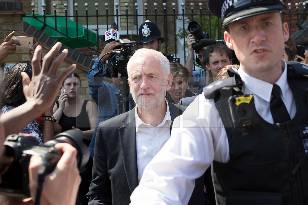 © Licensed to London News Pictures. 19/06/2017. London, UK. Labour Party Leader Jeremy Corby leaves Finsbury Park Mosque. Earlier a van ploughed into a crowd near Finsbury Park Mosque, as they finished taraweeh, Ramadan evening prayers. One person has been killed and 10 people are injured. Photo credit: Peter Macdiarmid/LNP