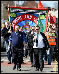 Union members attend The funeral of the former general secretary of the RMT union Bob Crow  in Woodford Green, North East, London, United Kingdom. Monday, 24th March 2014. Picture by Andrew Parsons / i-Images