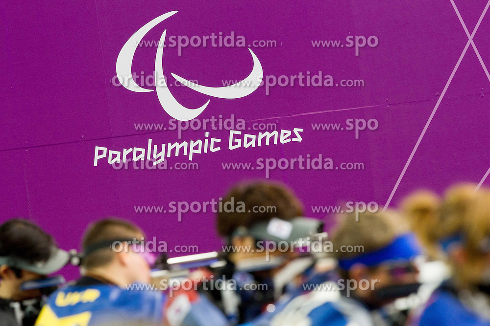 Logo of Paralympic games during the Men's R5-10m Air Rifle Prone shooting Final during Day 4 of the Summer Paralympic Games London 2012 on September 1, 2012, in Royal Artillery Barracks, London, Great Britain. (Photo by Vid Ponikvar / Sportida.com)