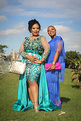 07062018 (Durban) Zama Phakathi (own Designer) and Sthe Dube arriving in style the adrenaline of Vodacom Durban July flowing like water among the massive crowd expected at Greyville Racecourse in Durban for the running of the R4.25 million, Grade 1, Vodacom Durban July, the greatest racing, fashion and entertainment extravaganza on the African continent.<br /> Picture: Motshwari Mofokeng/African News Agency/ANA