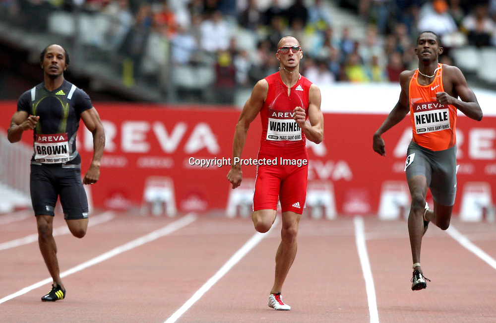 Christopher Brown, Jeremy Wariner and David Neville in action during the 400 metre race, at the IAAF Golden League Track and Field meeting on 17 July 2009 in Paris, France. Photo: Panoramic/PHOTOSPORT *** Local Caption ***
