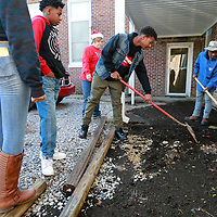 Thomas Wells | BUY AT PHOTOS.DJOURNAL.COM<br /> Jemarius Kennedy, 15, center, and Derrick Denman, 14, begin to form a new planting bed at Plantersville Middle School as part of their Masterpiece program.