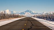 Scenic view of Wrangell Mountains from Glenn Highway near Glennallen in Interior Alaska. Winter. Afternoon.