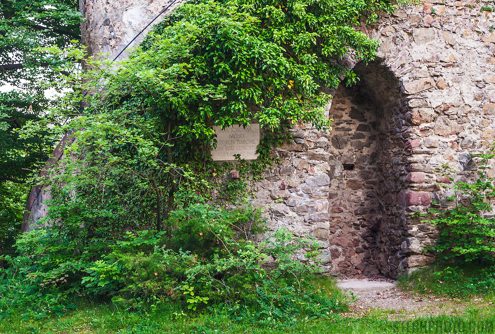 The remaining tower and doorway of Zaehringen castle on a hill (Rosskopf) near the city of Freiburg, Germany.
