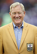 Former Buffalo Bills and Indianapolis Colts general manager Bill Polian looks on as he is introduced as a newly enshrined member of the NFL Pro Football Hall of Fame before the Pittsburgh Steelers 2015 NFL Pro Football Hall of Fame preseason football game against the Minnesota Vikings on Sunday, Aug. 9, 2015 in Canton, Ohio. The Vikings won the game 14-3. (©Paul Anthony Spinelli)